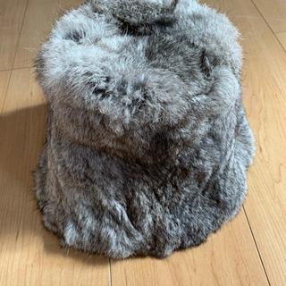 ウサギ毛皮帽子(ほぼ未使用)