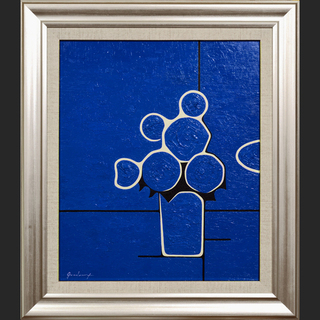 私が描いた厚塗り油絵です。◆『青い花』◆がんどうあつし肉筆直筆油...