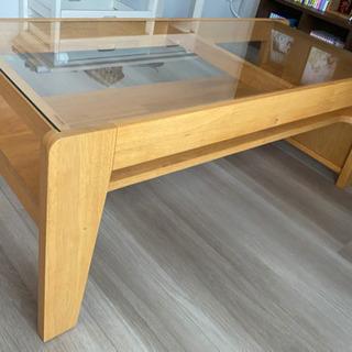 北欧風ガラスローテーブル