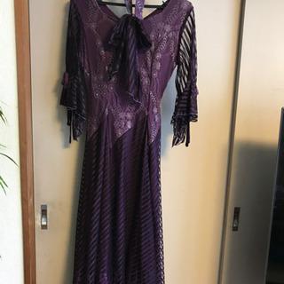 紫 レースドレス 魔女コスチュームなどに