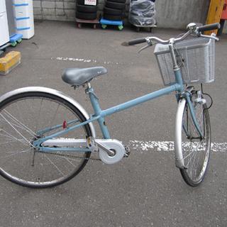 自転車 26インチ 鍵なし 切替なし 水色×シルバー ママチャリ...