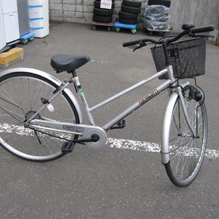 自転車 27インチ 鍵あり 切替なし シルバー ママチャリ シテ...