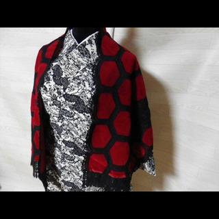 美しいお品物◆ショール ベロア レトロ アンティーク 和装 赤黒...