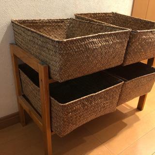 木製2段シューズラック&箱4つセット☆