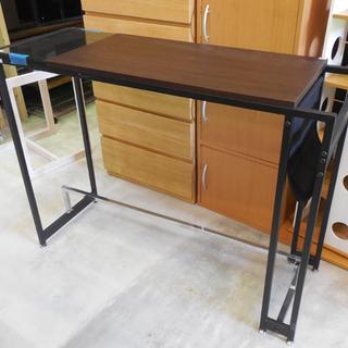 カウンターテーブル 幅105cm オシャレデザイン ガラス付き ...