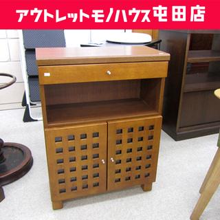キャビネット 収納棚 電話台 引き出し ブラウン 茶色 木製  ...
