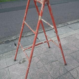 脚立  赤塗 鉄製土建工事用 鉄パイプ脚立 塗装脚立 レトロはしご