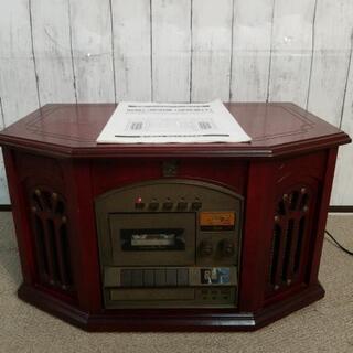 アンティーク木製レコードプレーヤー付きコンポ