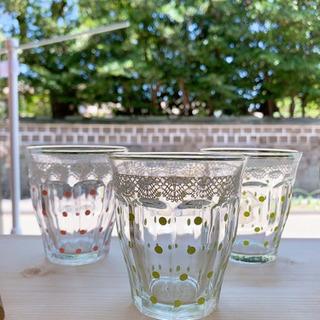 コップ グラス ガラスコップ ドット柄 レトロ レトロ食器
