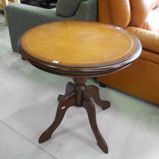 丸テーブル 幅60cm アンティーク調 天板がオシャレ ブラウン...
