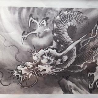 【ネット決済・配送可】迫力ある龍、縁起物 龍の日本画 A5サイズ...