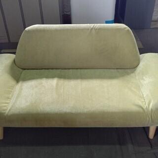 2人掛けソファ 天然木 布張り グリーン コスパクリエーション