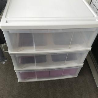 押入れ・衣類収納 プラスチック引き出し3段チェスト/タンス