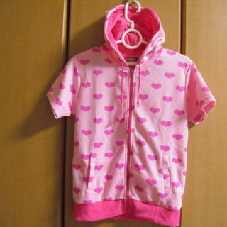 *お得*ピンクにハート柄のレディースパーカー(M)*お子様にもO...