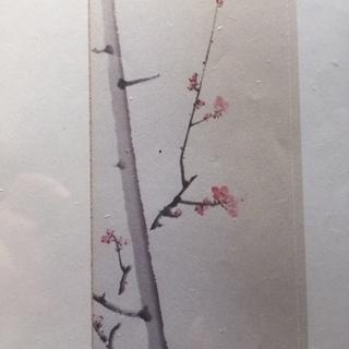 【ネット決済・配送可】洋室にも合う日本画「梅」 縦長サイズ額縁入...
