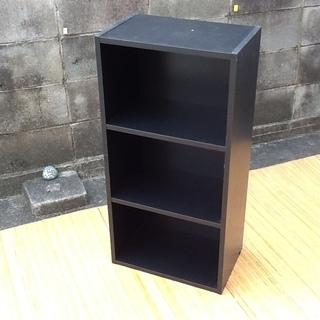 1個だけ入荷 渋いブラックのカラーボックス 3段 棚固定タイプ