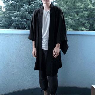 メンズ羽織り◇シンプル ブラック 和装 着物 美シルエット 黒 ...