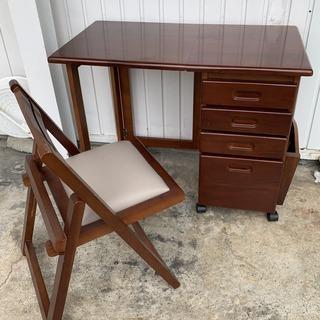 コンパクト! 折り畳み 机&椅子セット 木製 キャスター付き 引...
