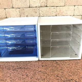 レターケース A4サイズ 白 プラスチックケース 透明 青 2個セット