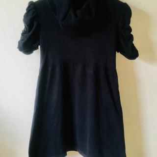 ブラック ニット 半袖ワンピース