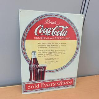 コカ・コーラ ブリキ看板 瓶 グラス 絵 32×43 ビンテージ...