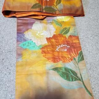 帯(オレンジ色) 花柄 中古 引渡し可能な方限定