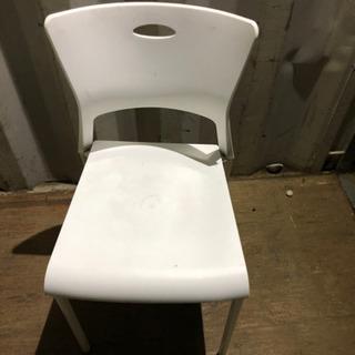 0808-13 椅子 チェア プラスチック 白 鉄