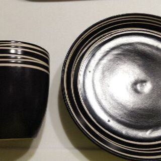 黒の食器セット マグカップ+20cmプレート2枚