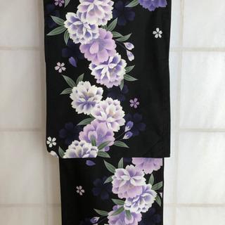 浴衣 M〜Lサイズ 黒地シンプル紫花柄