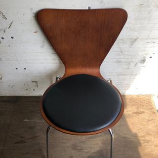 0809-15 椅子 チェア 木 鉄 合成皮革