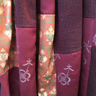 手作り  着物リメイク  スカート  赤3色