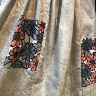 手作り  着物リメスカート  花パッチ