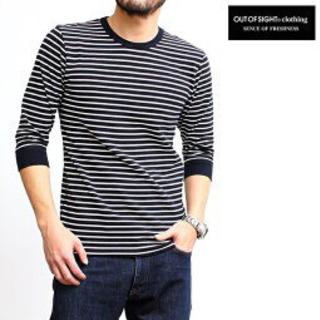 ボーダーTシャツ 七分袖 半袖 メンズ ネイビー 紺