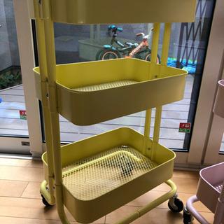 【中古きれいめ】IKEAロースコグワゴン イエロー