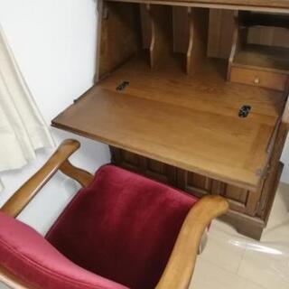 カリモクのアンティーク机椅子セット美品