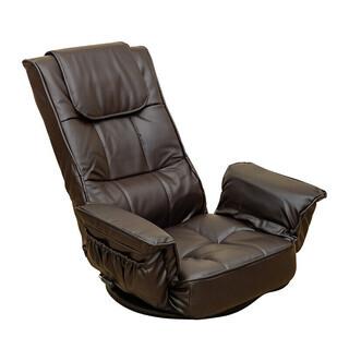 新品/座椅子/レバー式/ブラウン/回転/リクライニング