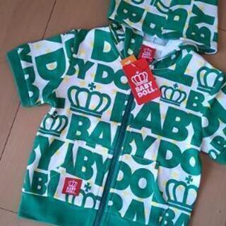 新品総柄フード半袖パーカー80緑ベビドBABYDOLLベビードール