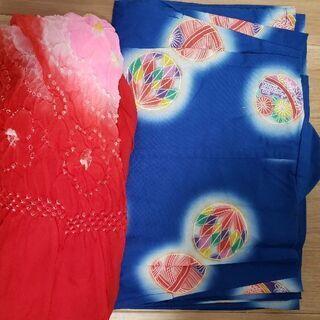 5~6才用 浴衣と赤、ピンク、青の兵児帯の画像