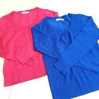 PATTERN ピンク 青 セーター ニット パターン