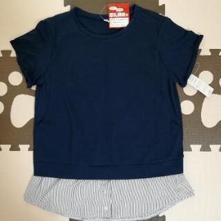 新品 マタニティ服 授乳 Mサイズ ネイビー 産前産後 重ね着風シャツ