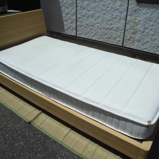 JM7878)ニトリ(シングル)ベッド&コイルスプリングマットレ...