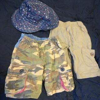 80サイズ ハーフパンツ&帽子