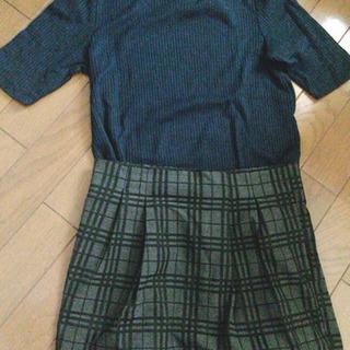 【コーデ売り】ビジュー付きクルーネックトップスとチェックタイトスカート