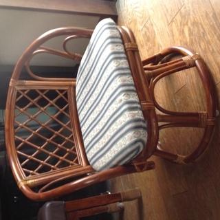 【未使用に近い】ラタン  籐   回転座椅子