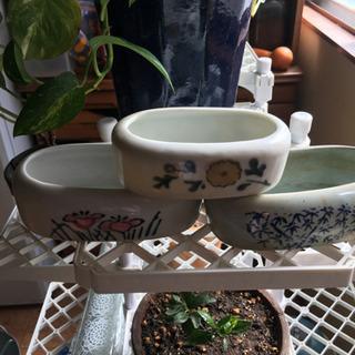 古い鳥の水飲み 植木鉢などに - 野田市