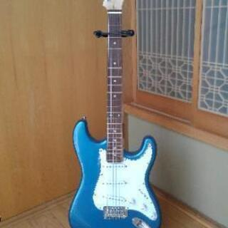 エレキギター青(ラメ青)スタンド付き
