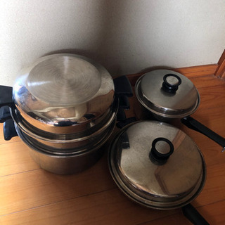 アムウェイ クィーン 蒸鍋 6L、平鍋セット