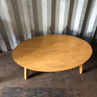 0813-21 折りたたみ式テーブル 楕円 木