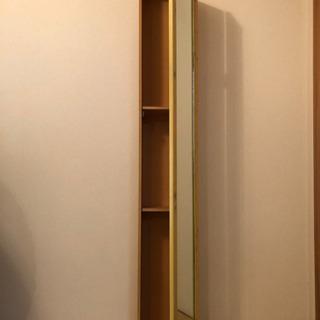 0円!!スタンドミラー ミラー収納 本棚 シェルフ 鏡 棚