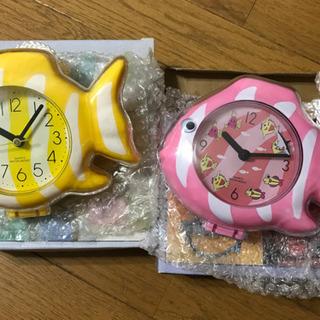 【新品未使用】お風呂で使える魚の時計2個セット